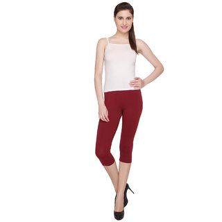 Valentine Casual Cotton Lycra Red Capri Leggings