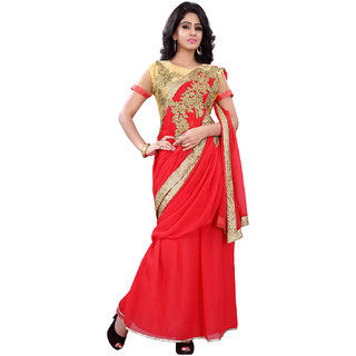 florence clothing company Red Georgette Embroidered Saree Without Blouse