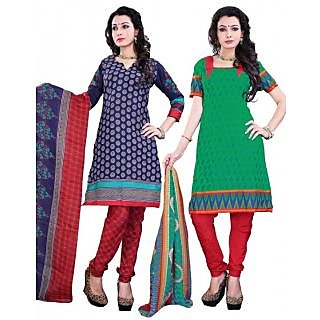 Surat Tex green & white cotton combo of 2 salwar kameez (Unstitched)