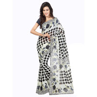 Ambaji Black & White Georgette Dotted Saree With Blouse