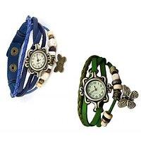 Jack Klein Round Dial BlueGreen Leather Strap Womens Quartz Watch