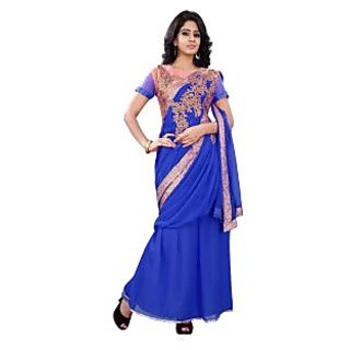 florence clothing company Blue Georgette Plain Saree Without Blouse