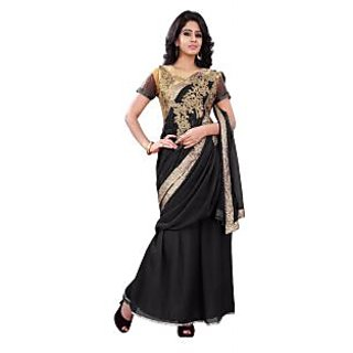 florence clothing company Black Georgette Plain Saree Without Blouse