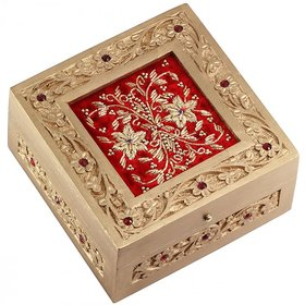 Woodsmith Wooden Handmade Jewelry Box With Zardozi Work on Red Velvet