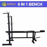 FITFLY NEW MULTIPURPOSE 6 IN 1 WEIGHT LIFTING ADJUSTABLE BENCH FOR GYM EXERCISE