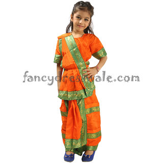 aaadd91830eb Buy Bharatanatyam Fancy Dress Orange Color Economic Costume ...