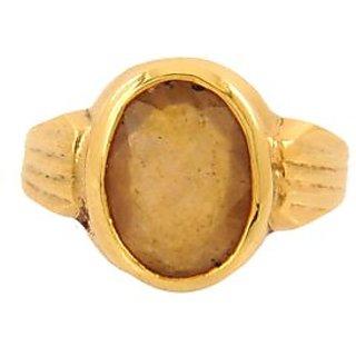 4.25 Ratti Yellow Sapphire Ring In Panchdhatu
