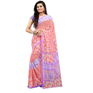 Ambaji Purple & Peach Georgette Printed Saree With Blouse