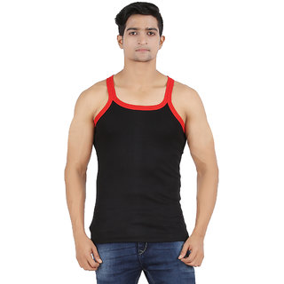 Zippy Men's Vest Cotton Solid Romeo Black Sleeveless Gym Vest