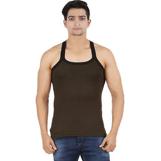 Zippy Men's Vest Cotton Solid Romeo Green Sleeveless Gym Vest