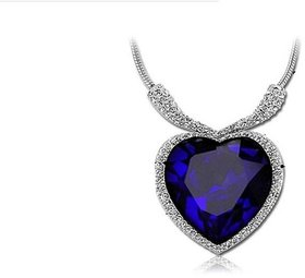 Titanic Royal Blue Heart Crystal Heart of The Ocean Love Necklace For Girls