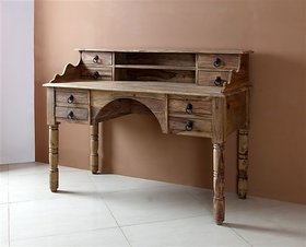 WALNUT WRITING DESK 8 DRAWERS FOLDING