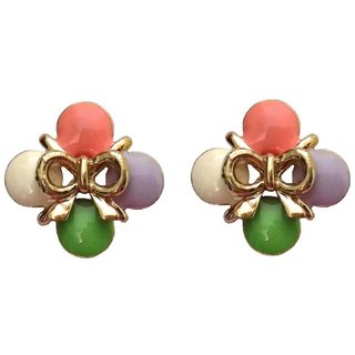 Fancy Bow Style Multicolour Stud Earrings - 741.15