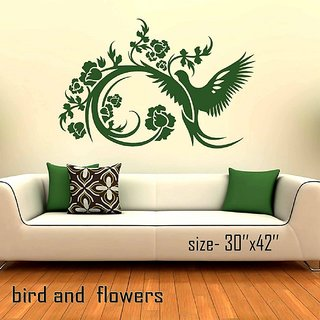 wall stencils bird  flowers