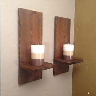Rustic Modern Wall Sconces Rustic Rough Sawn Candle Holders