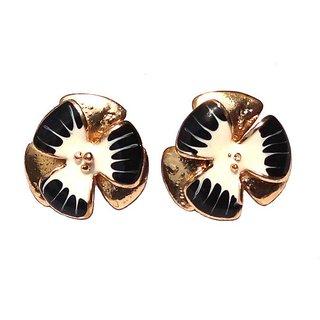 Trendy Flower Style Black & White Earrings - 741.1