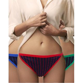 7048052773bcf8 Buy Lure Wear Striped Bikini Panty (Pack of 3) Online - Get 25% Off