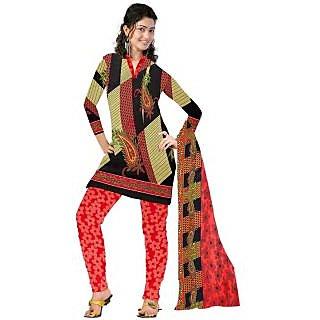 Riti Riwaz Black & Red Printed Dress Material with Matching dupatta MWD327