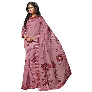 Triveni Pink Cotton Plain Saree With Blouse