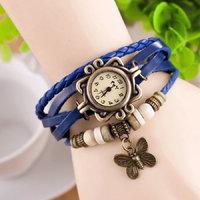 Blue Vintage Retro Beaded Bracelet Leather Women Wrist Watch With Butterfly