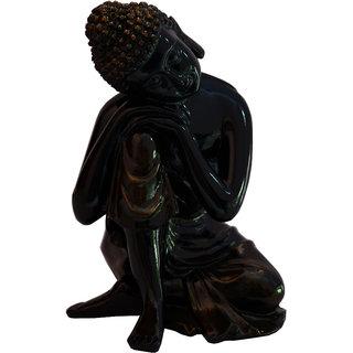 Fiber Dhyan Buddha Statue In Black