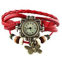 Red Vintage Retro Beaded Bracelet Leather Women Wrist Watch With Butterfly