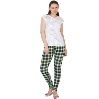 27Ashwood Women's Printed Legging (27WPL2105_Green Checks Printed Legging_Medium)