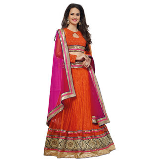 7 Colors Lifestyle Orange Net Embroidered Semi-Stitched Lehenga Choli