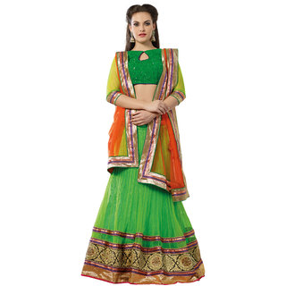 7 Colors Lifestyle Green Net Embroidered Semi-Stitched Lehenga Choli