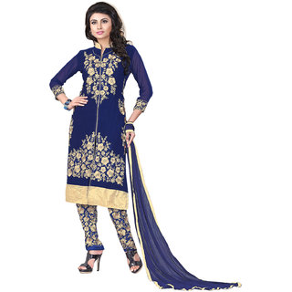 7 Colors Lifestyle Blue Embroidered Georgette Semistitch Salwar Suit