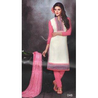 Vivid Fashion Chanderi Cream Pink Embroidered Unstitched Salwar Kameez Vivid046