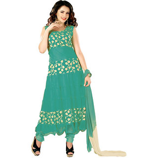 7 Colors Lifestyle Green Coloured Net Brasso Semi-Stitched Anarkali Suit