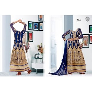 7 Colors Lifestyle Blue Coloured Georgette Semi-Stitched Anarkali Suit