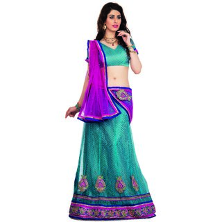 7 Colors Lifestyle Pink Coloured Net Embroidered Semi-Stitched Lehenga Choli