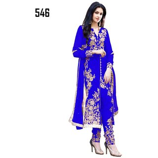 7 Colors Lifestyle Blue Coloured Georgette Semi-Stitched Salwar Suit