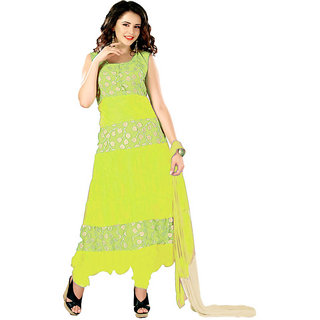 7 Colors Lifestyle Yellow Coloured Net Brasso Semi-Stitched Anarkali Suit