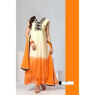 7 Colors Lifestyle Orange Coloured Georgette Semi-Stitched Anarkali Suit