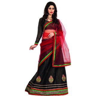 7 Colors Lifestyle Black Coloured Net Embroidered Semi-Stitched Lehenga Choli