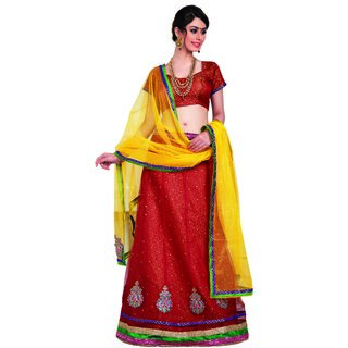 7 Colors Lifestyle Red Coloured Net Embroidered Semi-Stitched Lehenga Choli