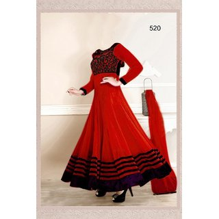 7 Colors Lifestyle Red Coloured Georgette Semi-Stitched Anarkali Suit