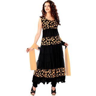 7 Colors Lifestyle Black Coloured Net Brasso Semi-Stitched Anarkali Suit