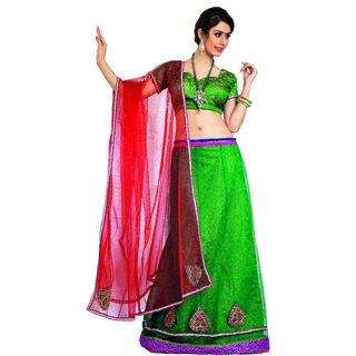 7 Colors Lifestyle Green Coloured Net Embroidered Semi-Stitched Lehenga Choli