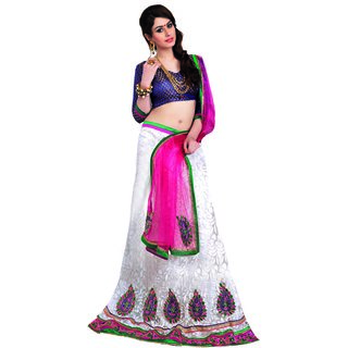 7 Colors Lifestyle White Coloured Net Embroidered Semi-Stitched Lehenga Choli