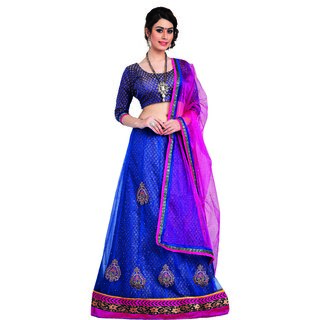 7 Colors Lifestyle Blue Coloured Net Embroidered Semi-Stitched Lehenga Choli