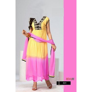 7 Colors Lifestyle Yellow & Pink Coloured Georgette Semi-Stitched Anarkali Suit