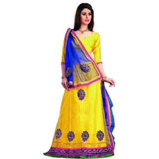 7 Colors Lifestyle Yellow Coloured Net Embroidered Semi-Stitched Lehenga Choli