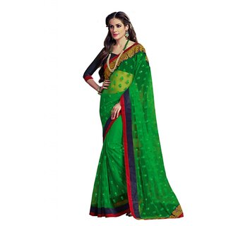 Heavy Embroidery Green Net Saree