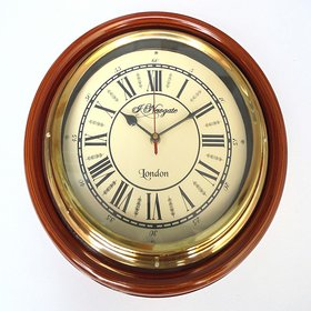 Ageless Azyra Vintage Antique Look Wood and Brass Wall Clock 12