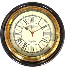 Ageless Azyra Vintage Antique Finish Wood and Brass Wall Clock 12