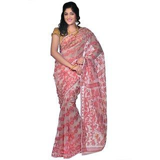 Red and White Silk Saree